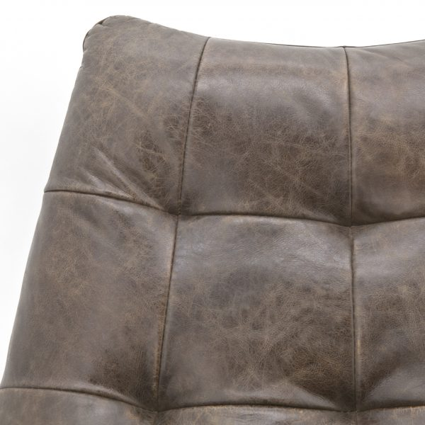 Fauteuil Pedro Leder donkerbruin